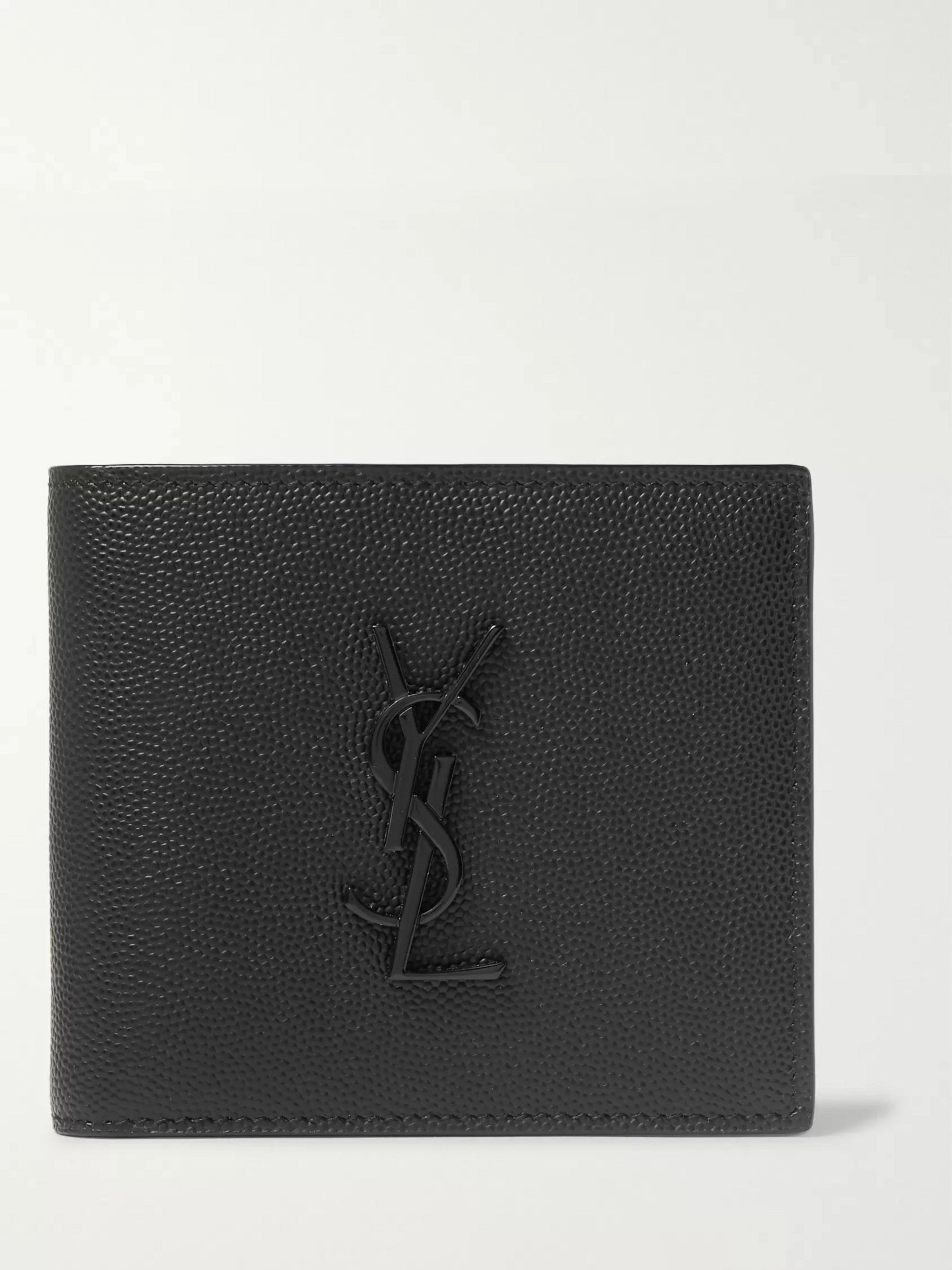 SAINT LAURENT Logo-Embellished Pebble-Grain Leather Billfold Wallet
