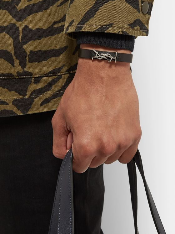 SAINT LAURENT Logo-Detailed Burnished Silver-Tone and Leather Bracelet