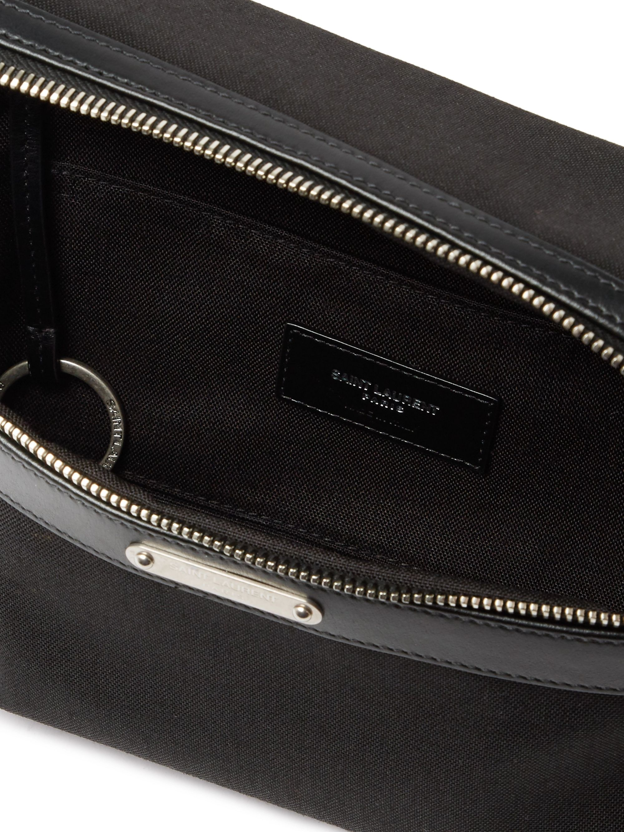 SAINT LAURENT Leather-Trimmed Canvas Belt Bag