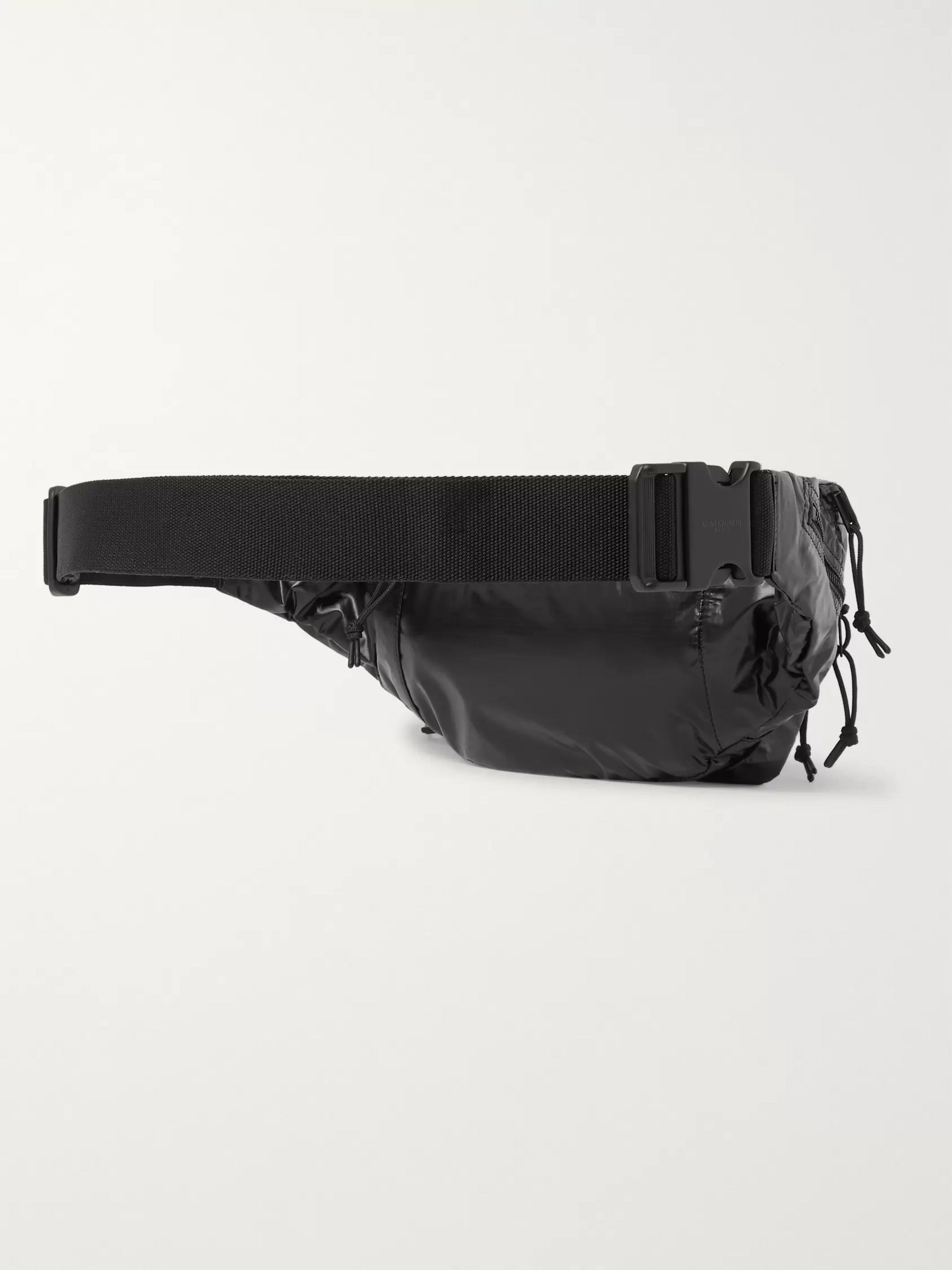 SAINT LAURENT Metallic Logo-Print Glossed Nylon-Ripstop Belt Bag