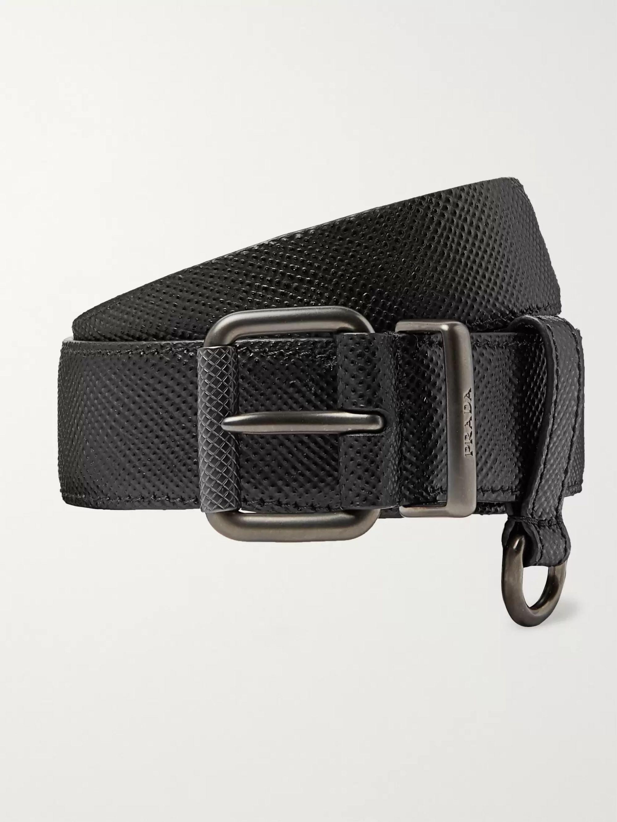 61603d6304 3cm Black Saffiano Leather Belt