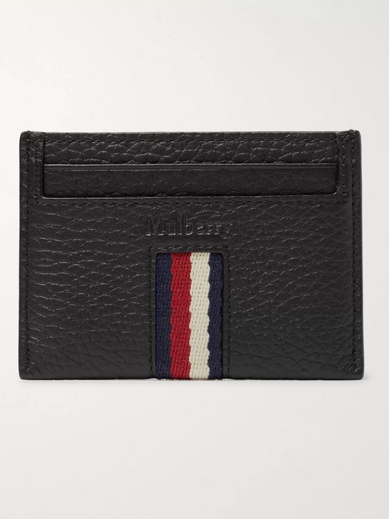 Mulberry Animation Striped Grosgrain-Trimmed Full-Grain Leather Cardholder