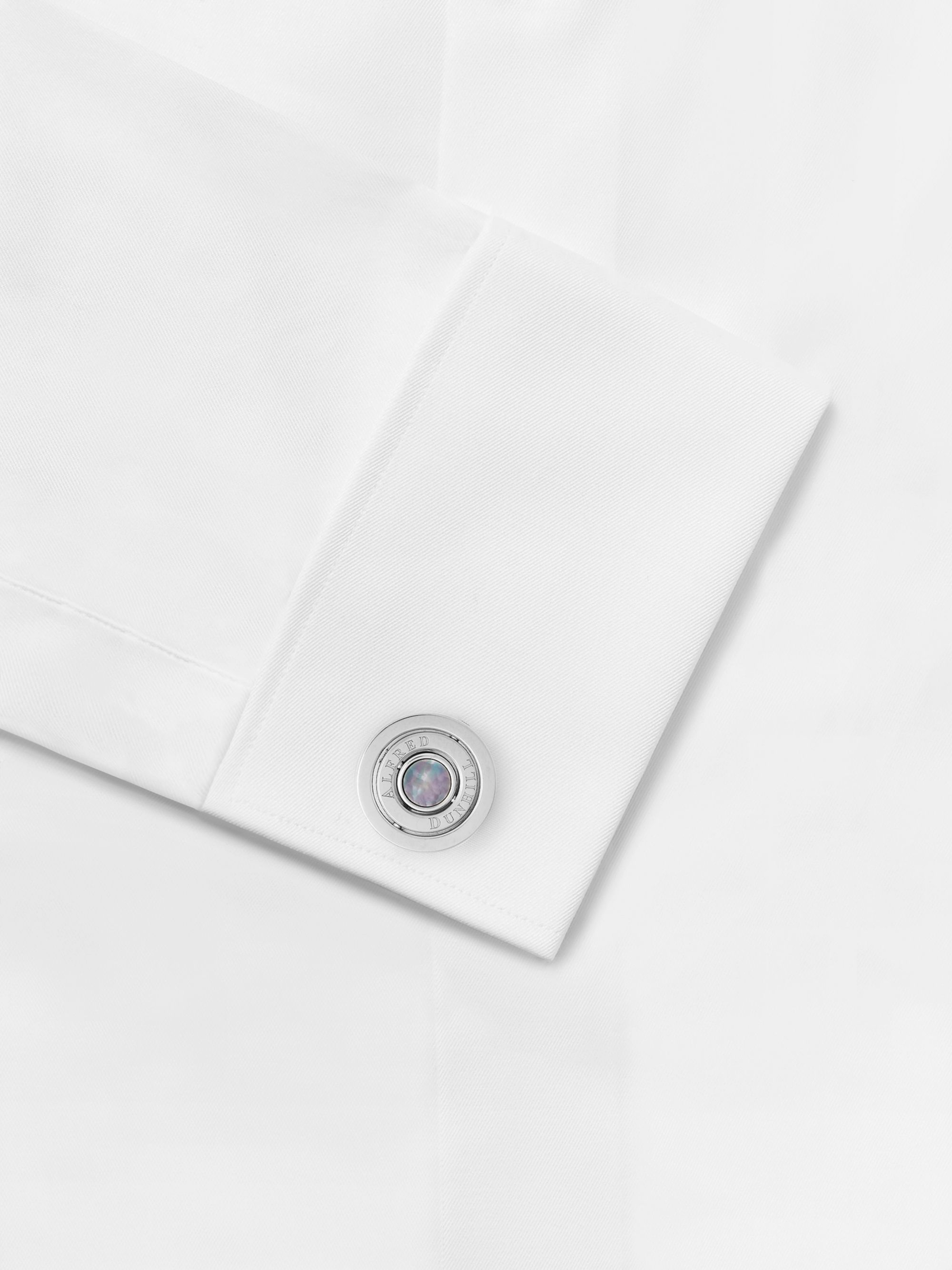 Dunhill Gyro Rhodium-Plated and Mother-of-Pearl Cufflinks