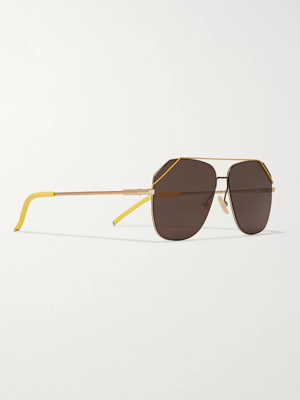 Fendi Sunglasses AVIATOR-STYLE GOLD-TONE SUNGLASSES