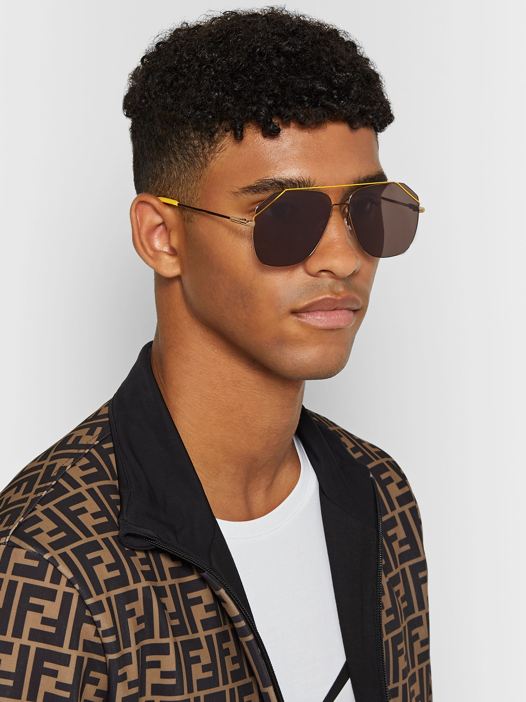 Fendi Aviator-Style Gold-Tone Sunglasses