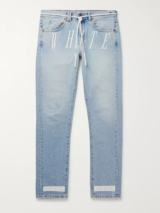 Off-White Slim-Fit Logo-Print Denim Jeans