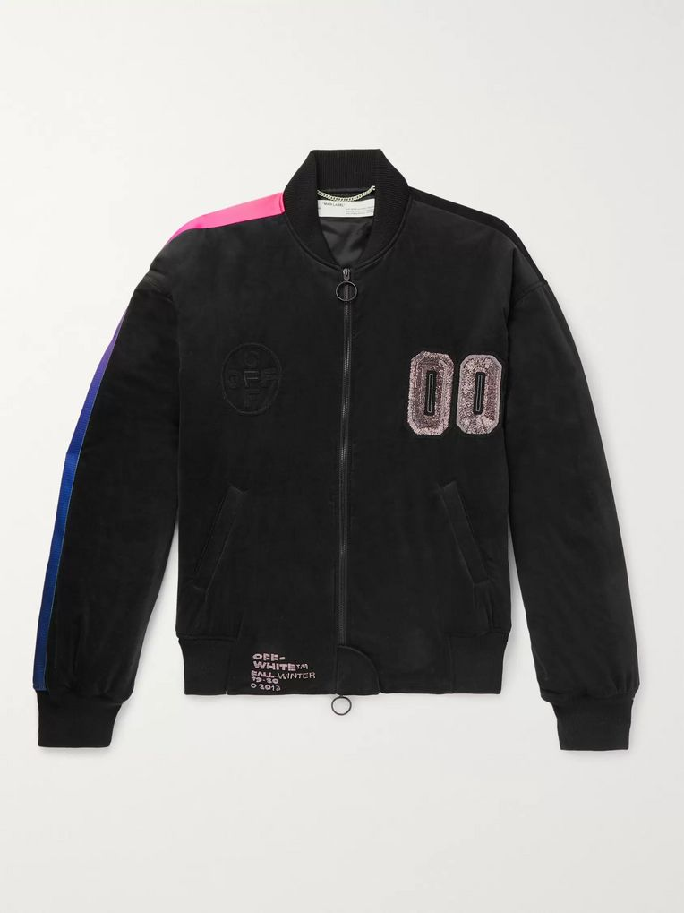 Off-White Oversized Logo-Embellished Cotton-Blend Velour Bomber Jacket