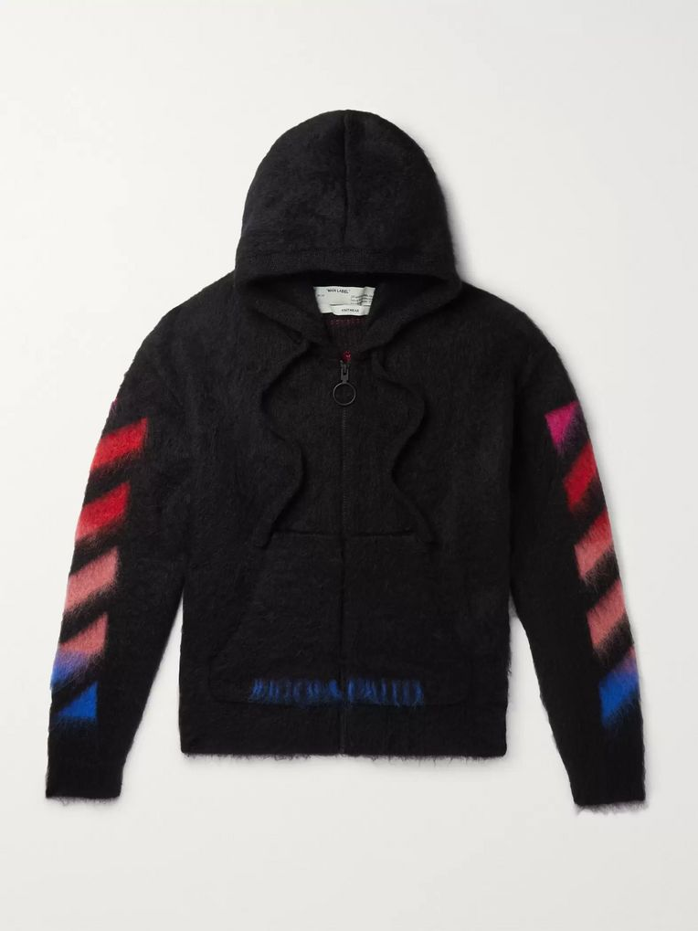 Off-White Printed Brushed Mohair-Blend Zip-Up Hoodie