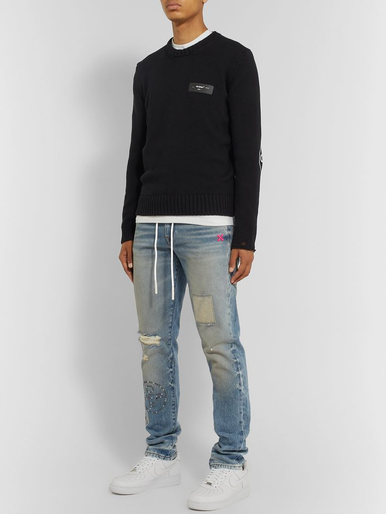 Off-White Slim-Fit Embellished Distressed Denim Jeans