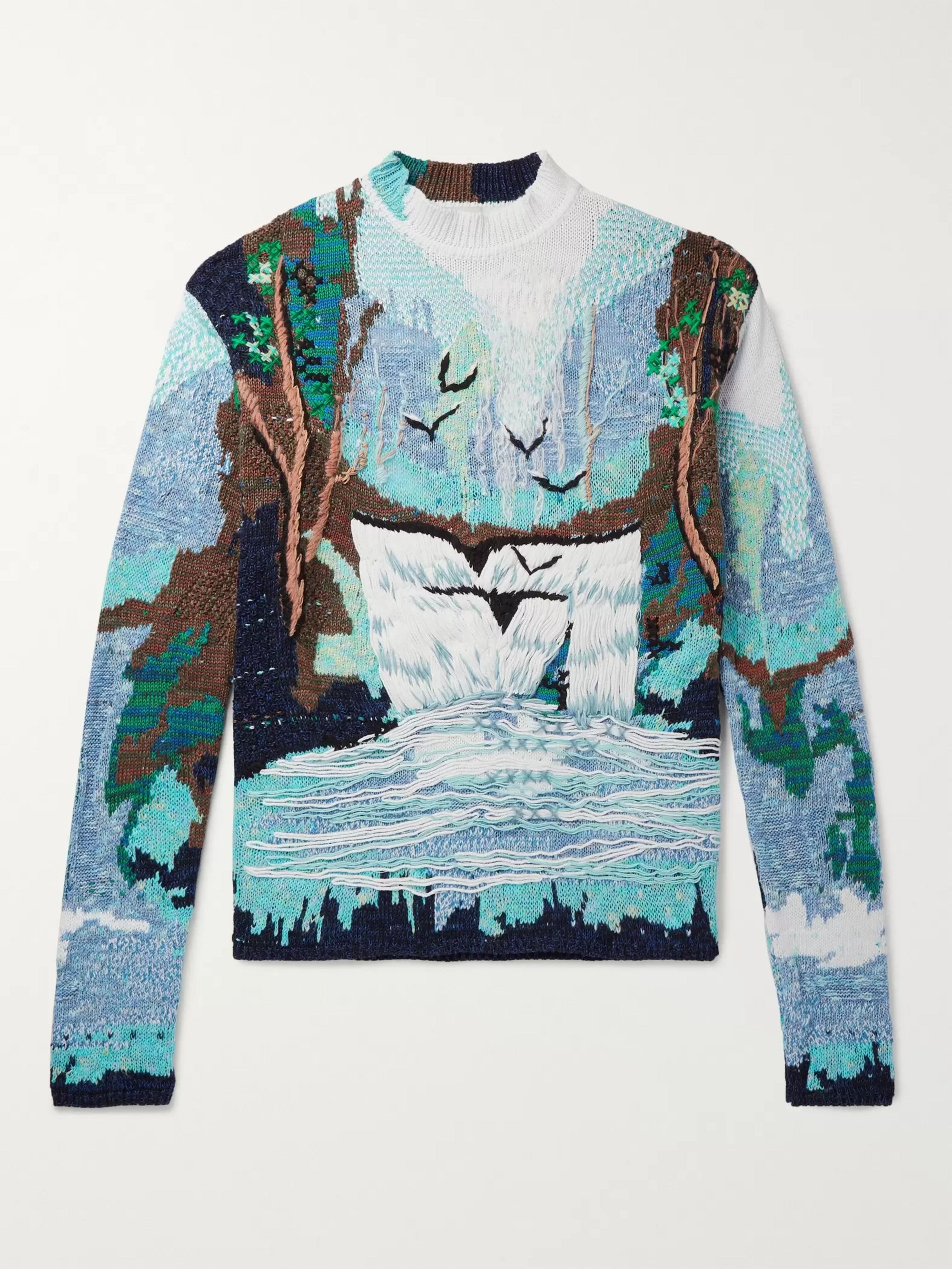 Oversized Embroidered Intarsia Cotton Blend Sweater by Off White