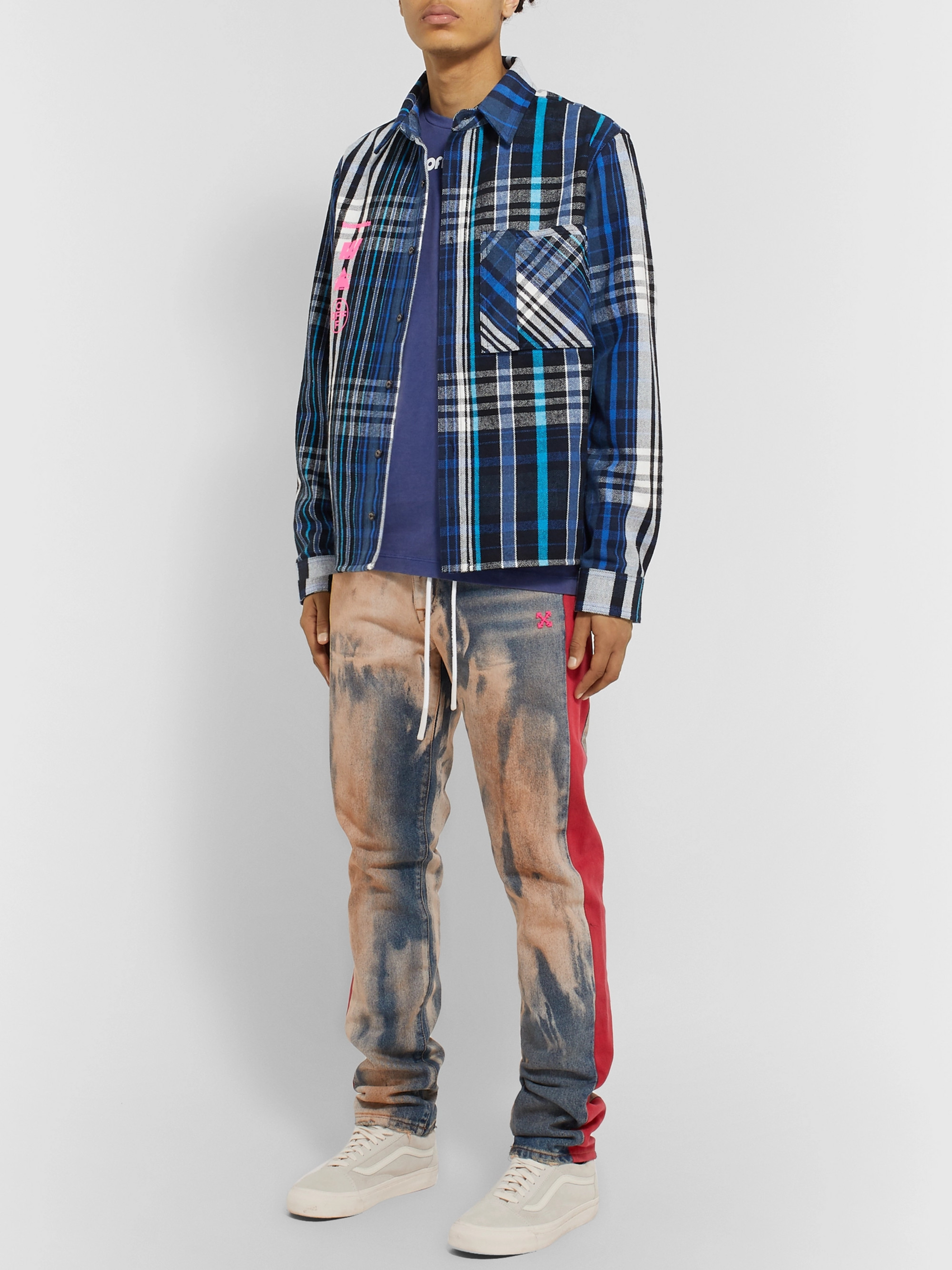 Off-White Slim-Fit Striped Bleached Denim Jeans