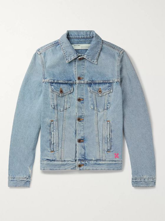 Off-White Slim-Fit Logo-Print Denim Jacket