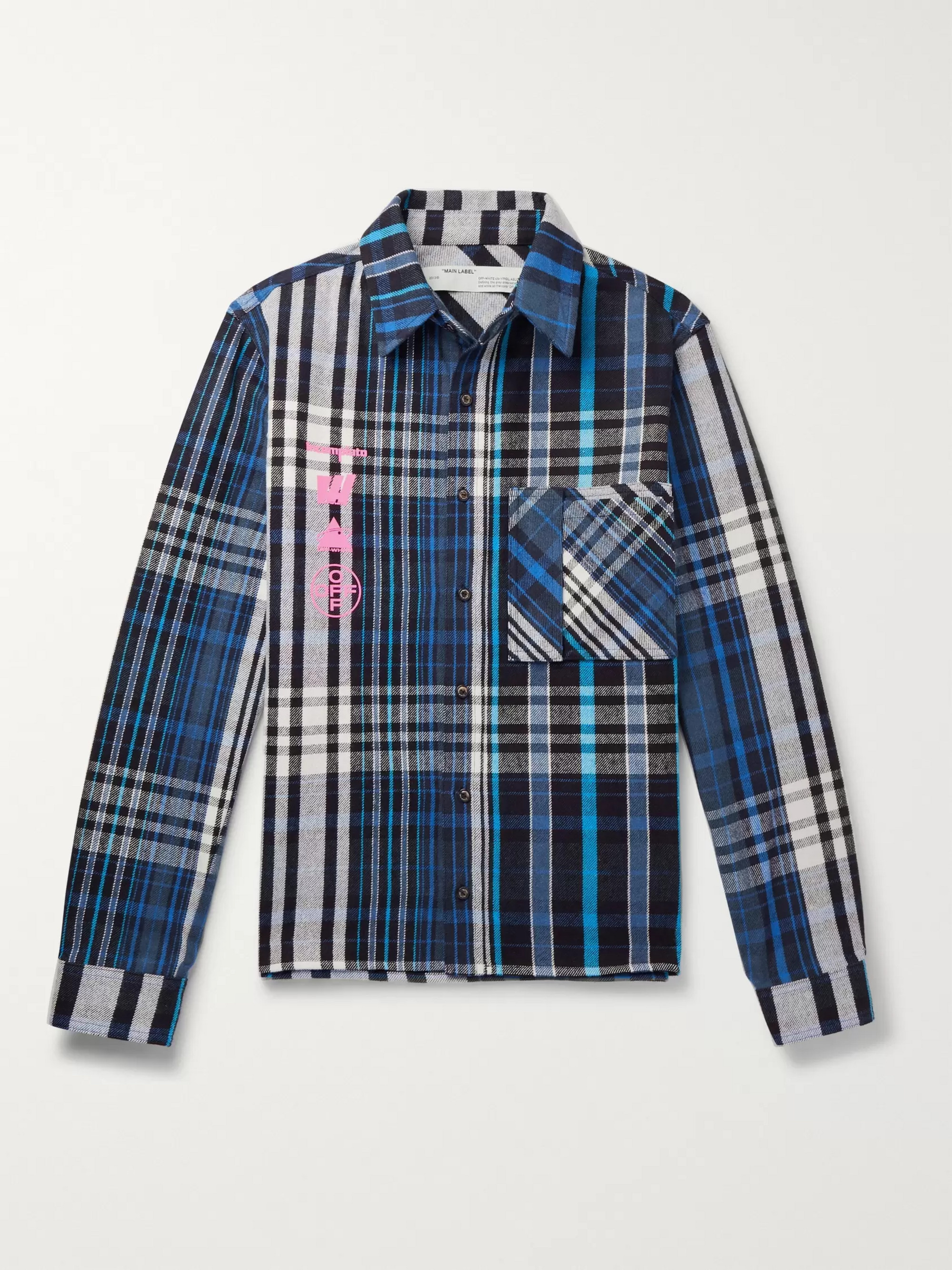 54ccdc68 Off-White Printed Checked Cotton-Blend Flannel Shirt
