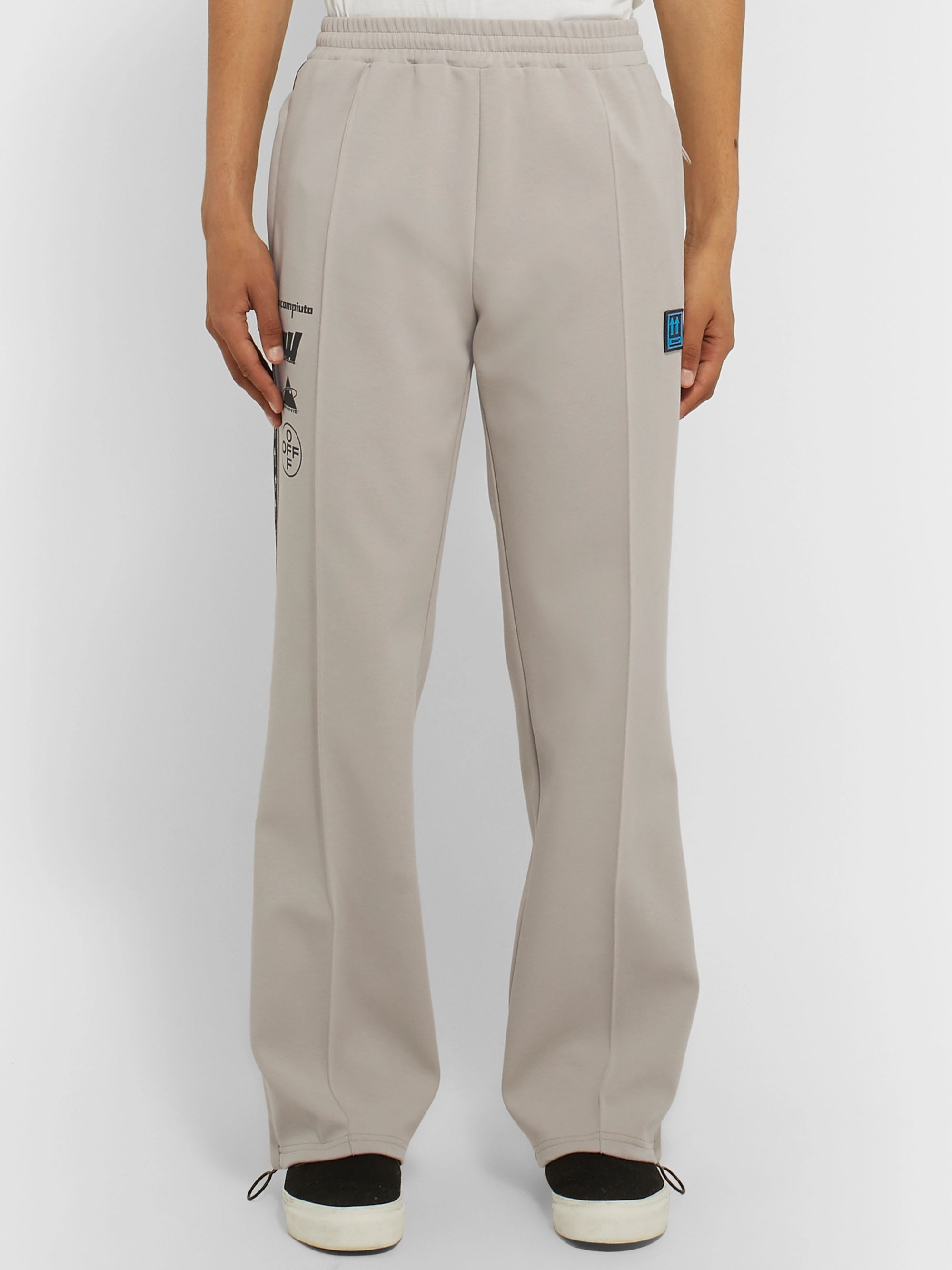 Off-White Glittered Webbing-Trimmed Cotton-Blend Track Pants