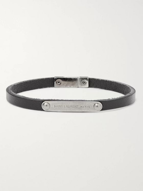 SAINT LAURENT Logo-Engraved Leather and Silver-Tone Bracelet