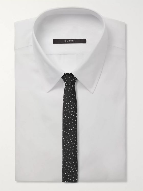 SAINT LAURENT 4cm Metallic Embroidered Woven Tie