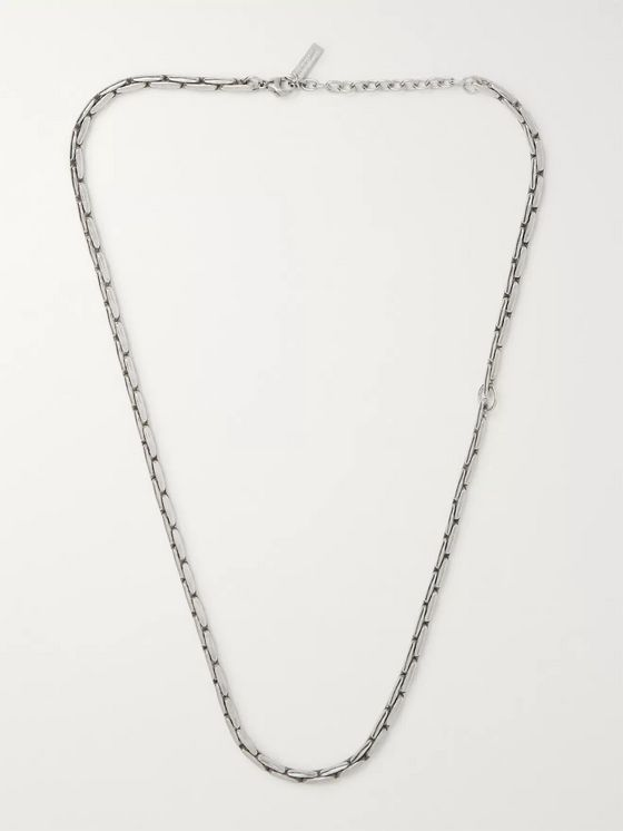 SAINT LAURENT Oxidised Silver-Tone Necklace
