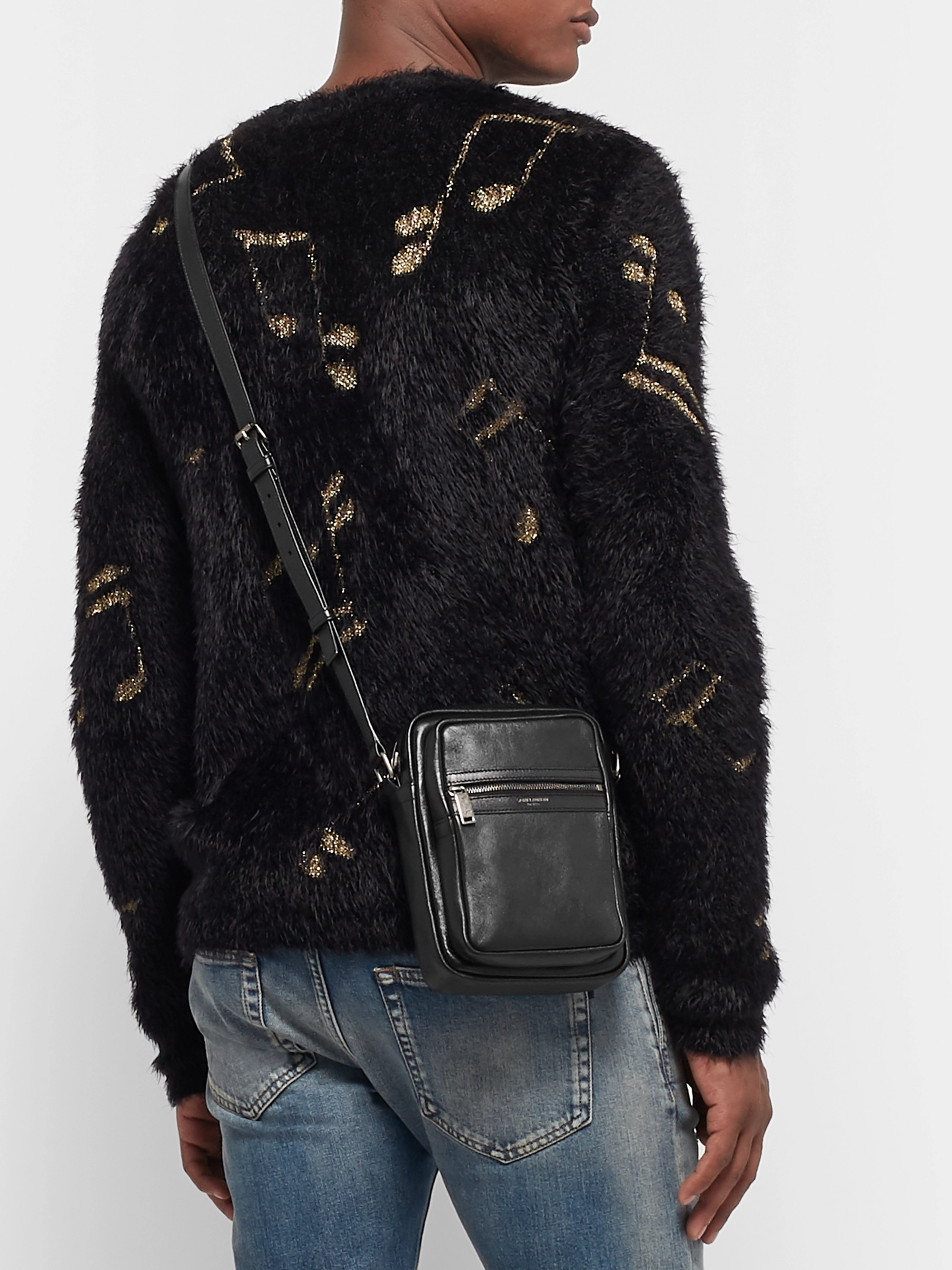 SAINT LAURENT Textured-Leather Messenger Bag