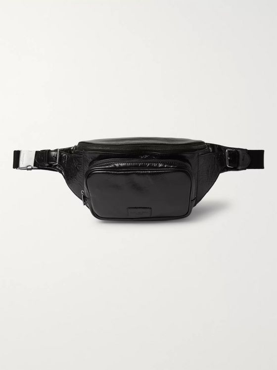 SAINT LAURENT Creased-Leather Belt Bag