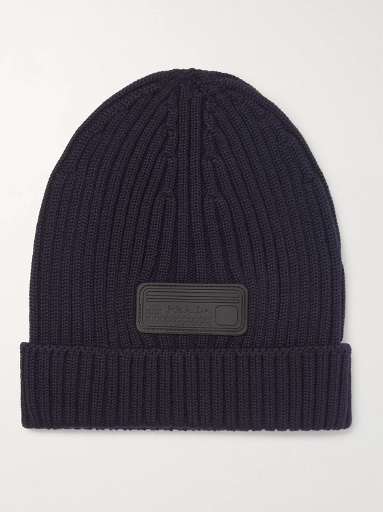 Prada Logo-Appliquéd Ribbed Virgin Wool Beanie