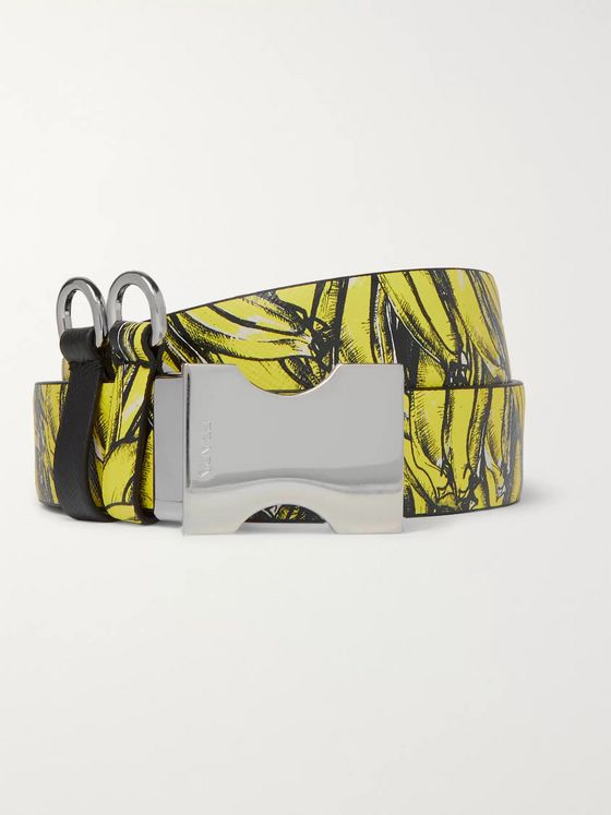 Prada 3cm Yellow and Black Reversible Cross-Grain Leather Belt