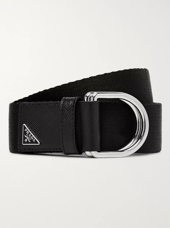 Prada 3.5cm Olive Saffiano Leather-Trimmed Webbing Belt