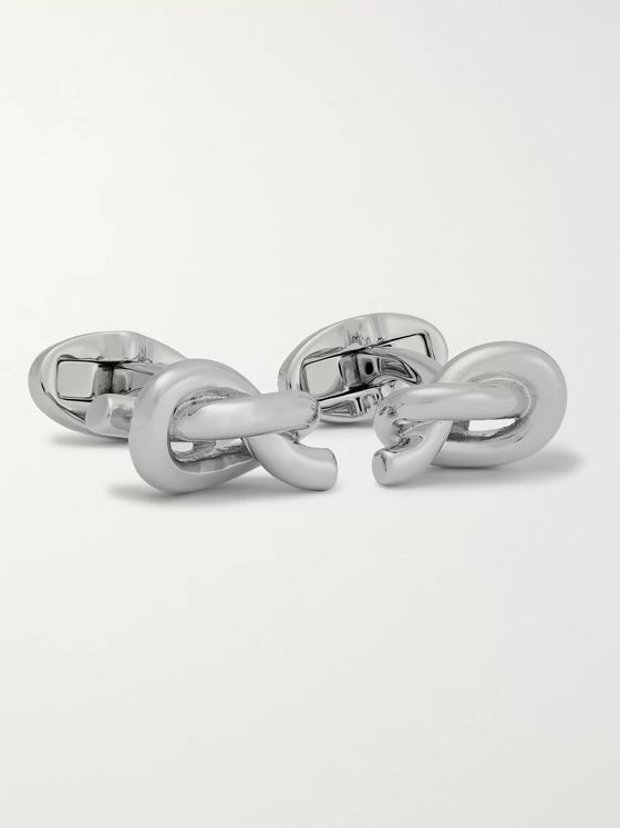 Mulberry Knotted Silver-Plated Cufflinks