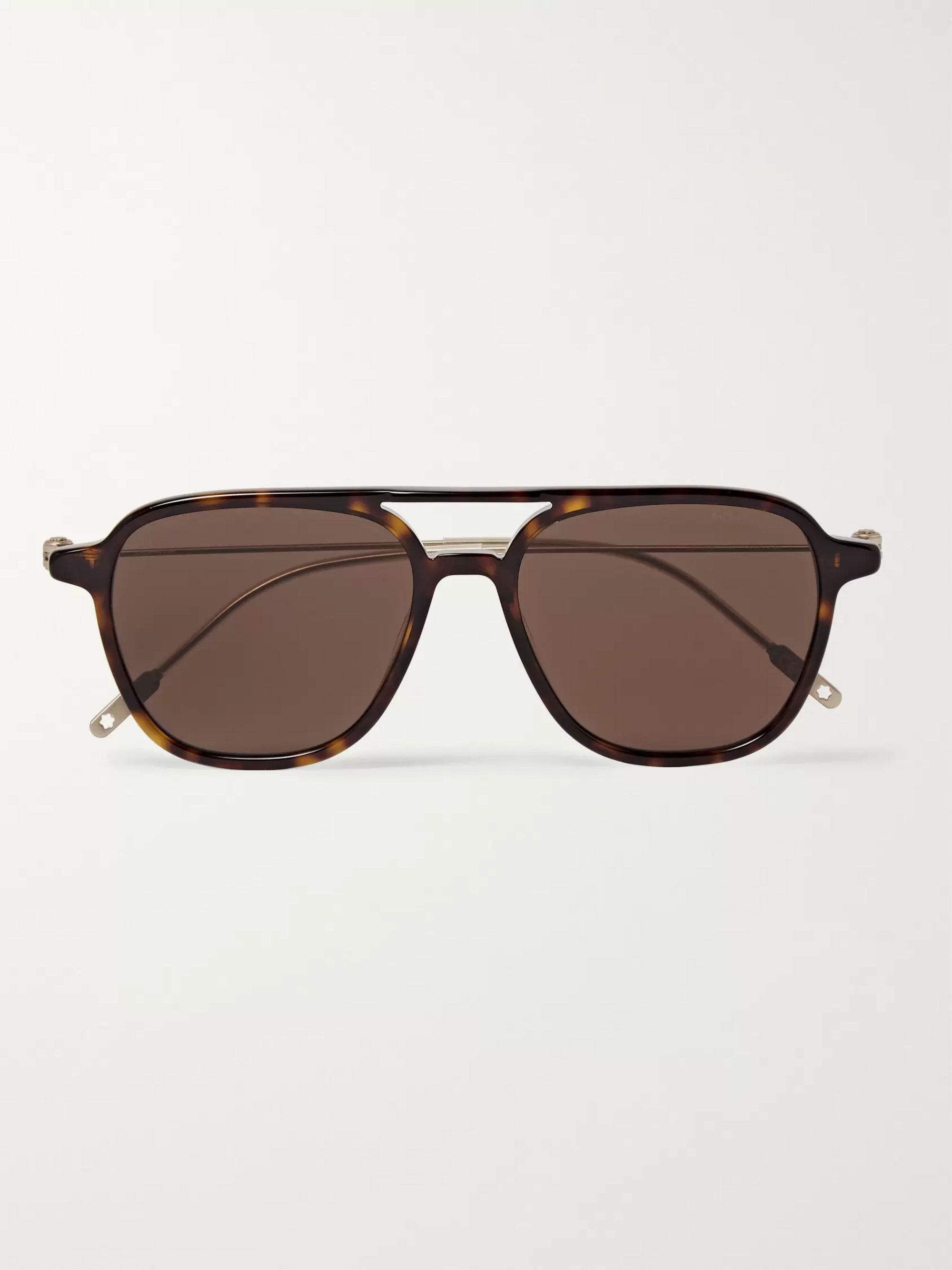 Montblanc Navigator Aviator-Style Tortoiseshell Acetate and Gold-Tone Sunglasses