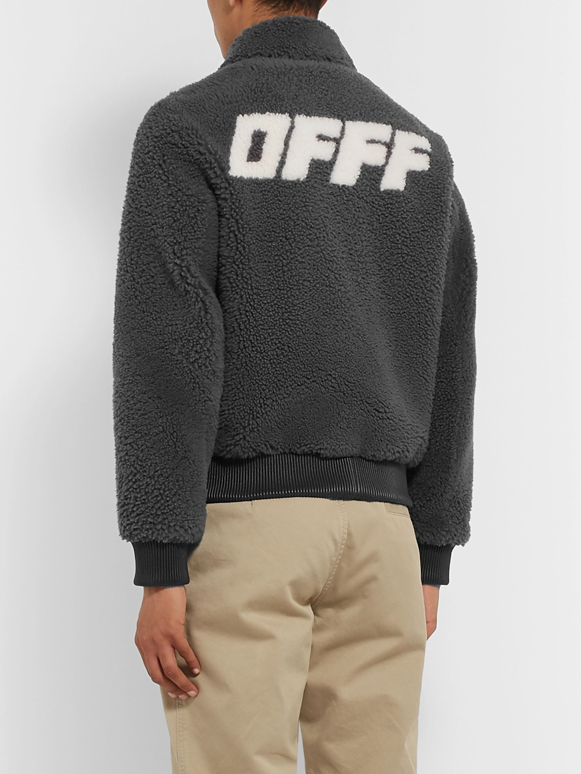 Off-White Logo-Print Shearling Bomber Jacket