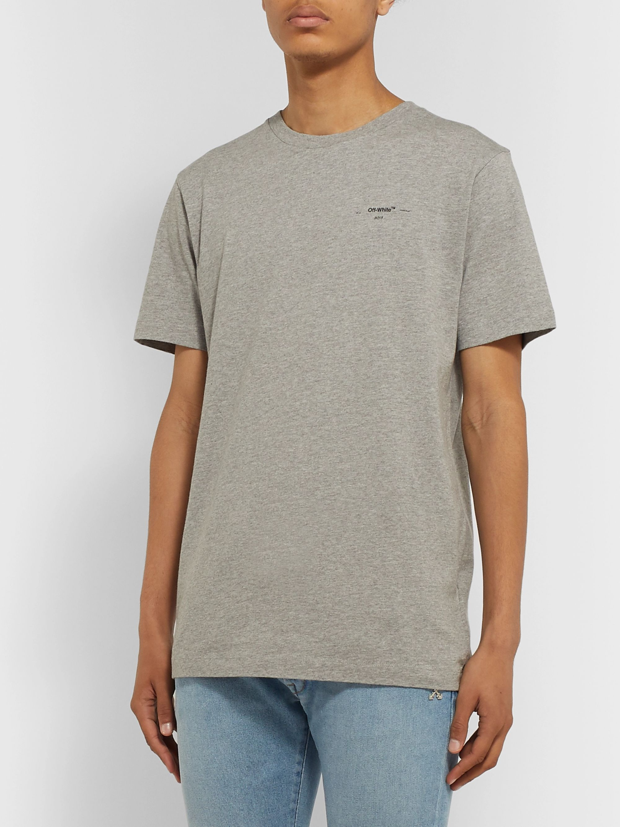Off-White Logo-Print Mélange Cotton-Jersey T-Shirt