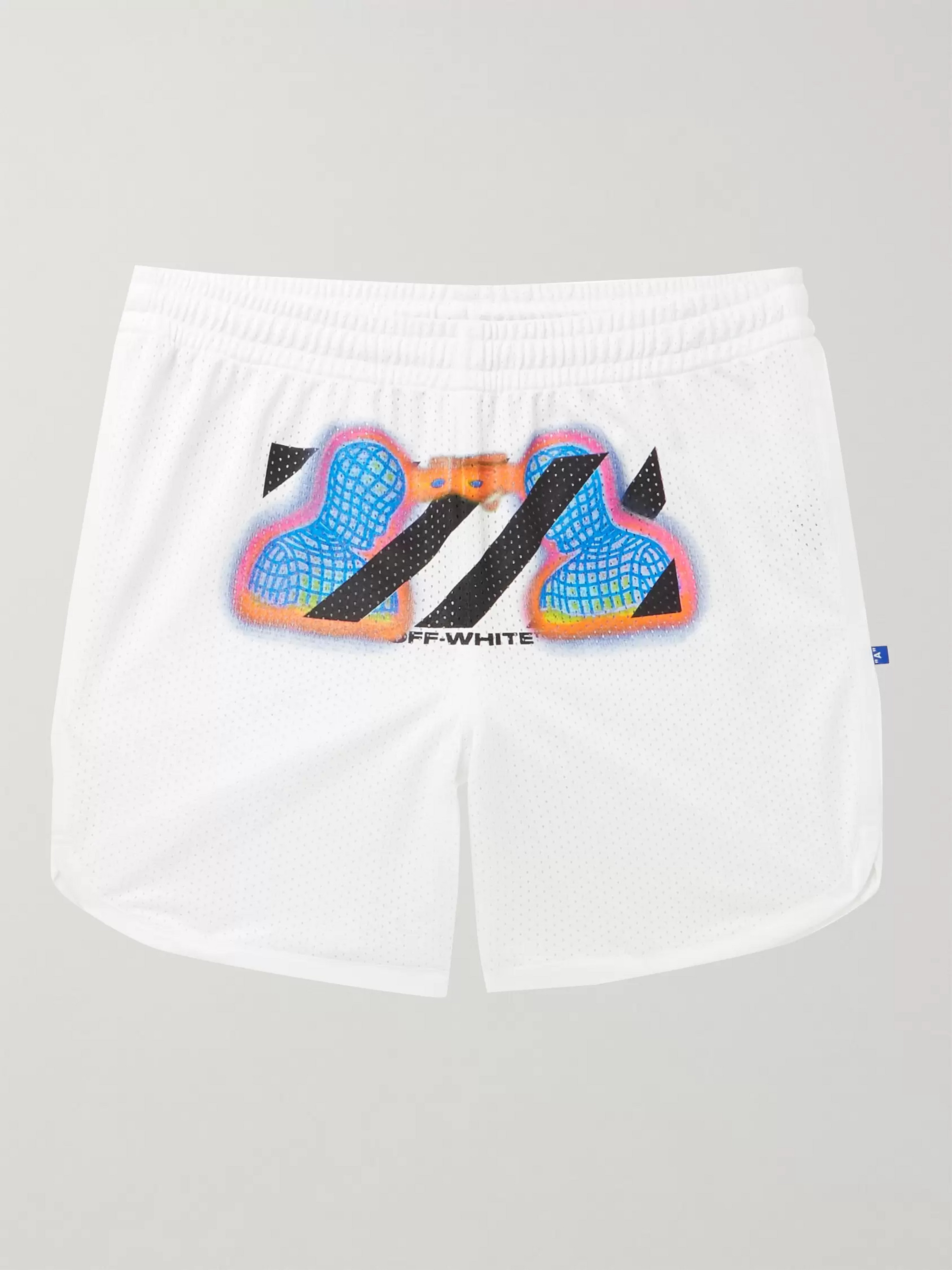 Off-White Printed Mesh Drawstring Shorts