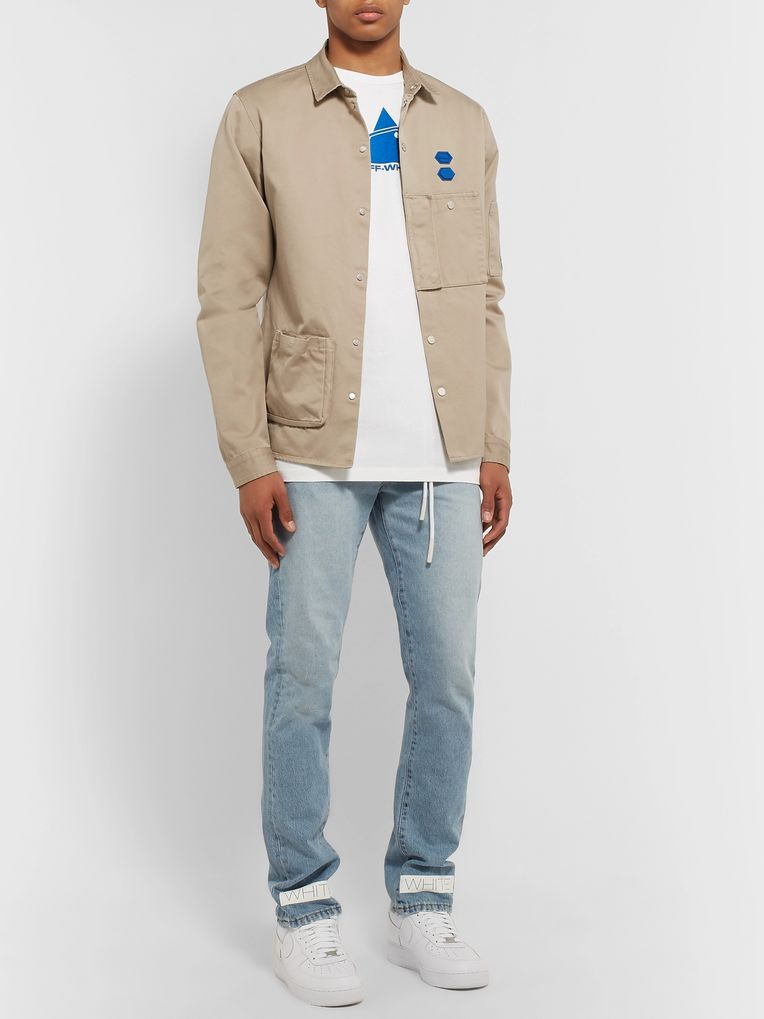 Off-White Appliquéd Cotton Shirt Jacket