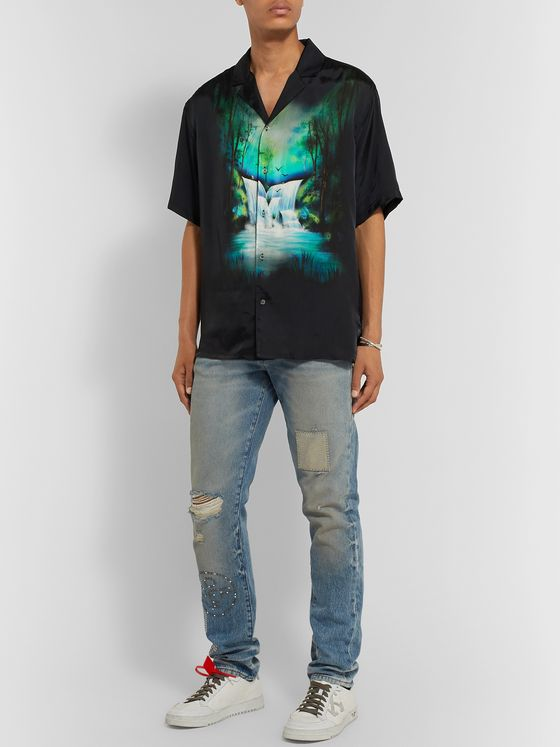 Off-White Camp-Collar Printed Twill Shirt