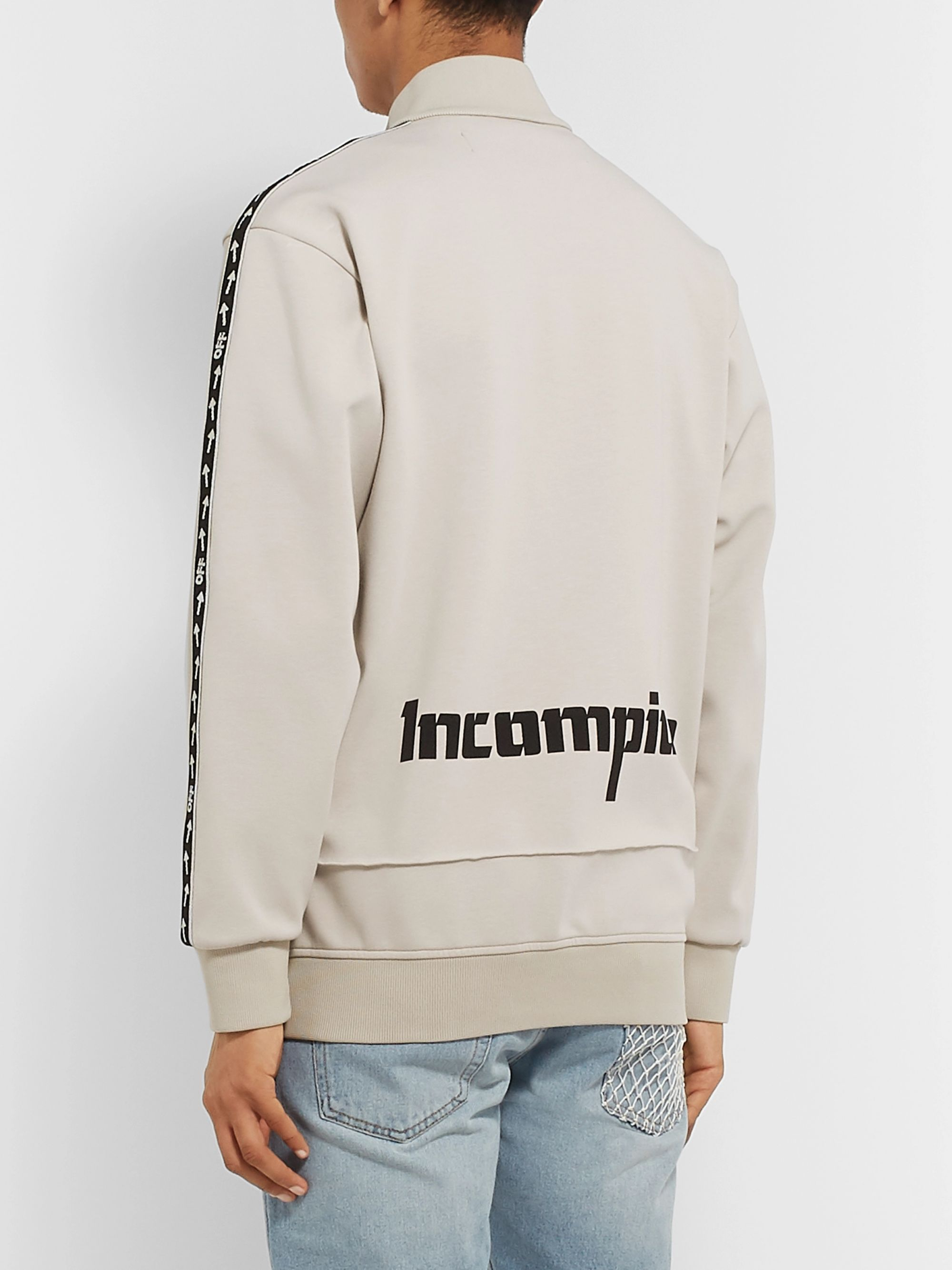 Off-White Incompiuto Printed Cotton-Blend Jersey Zip-Up Sweatshirt