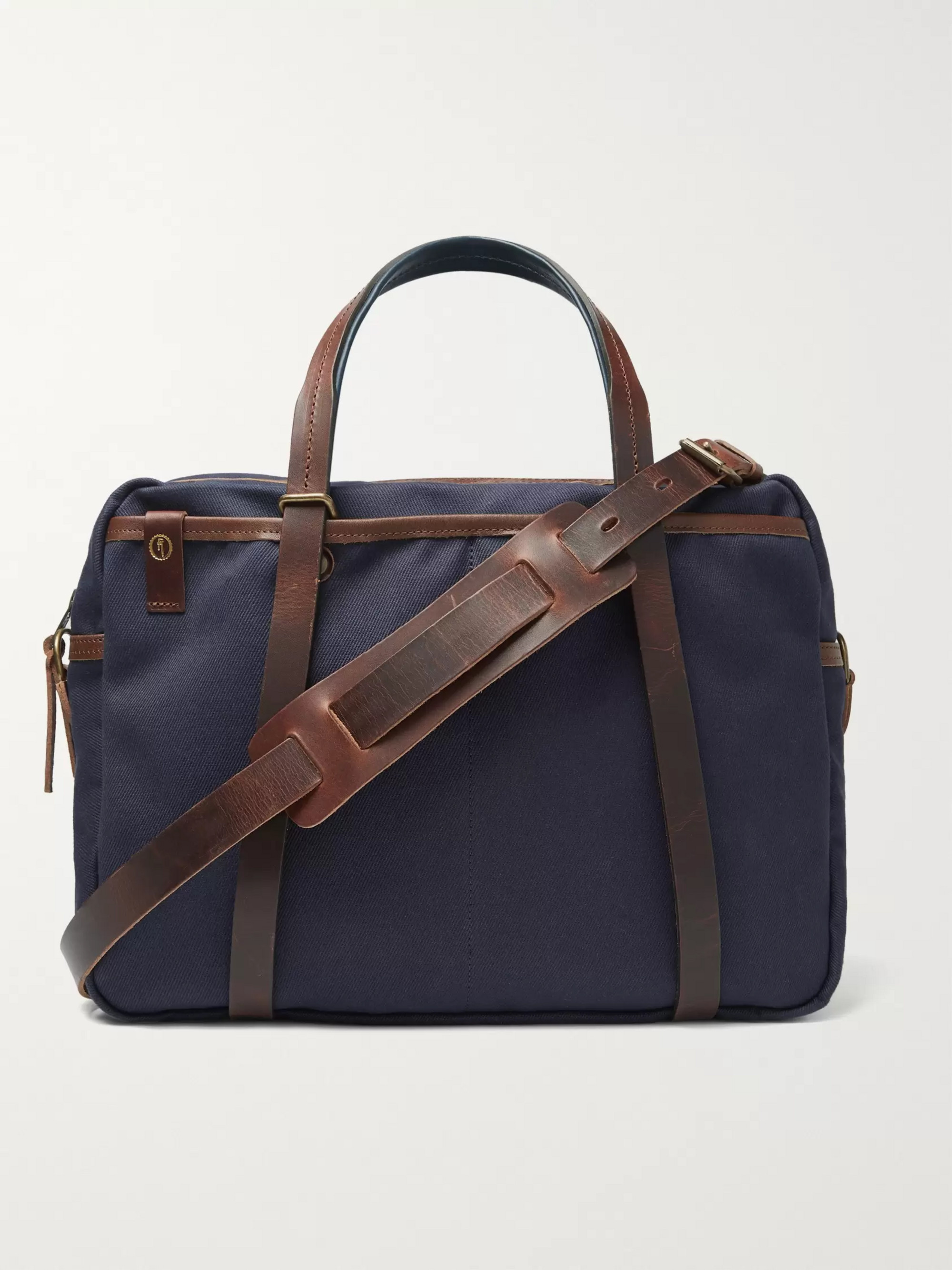 Bleu de Chauffe The Reporter Leather-Trimmed Waxed-Cotton Briefcase