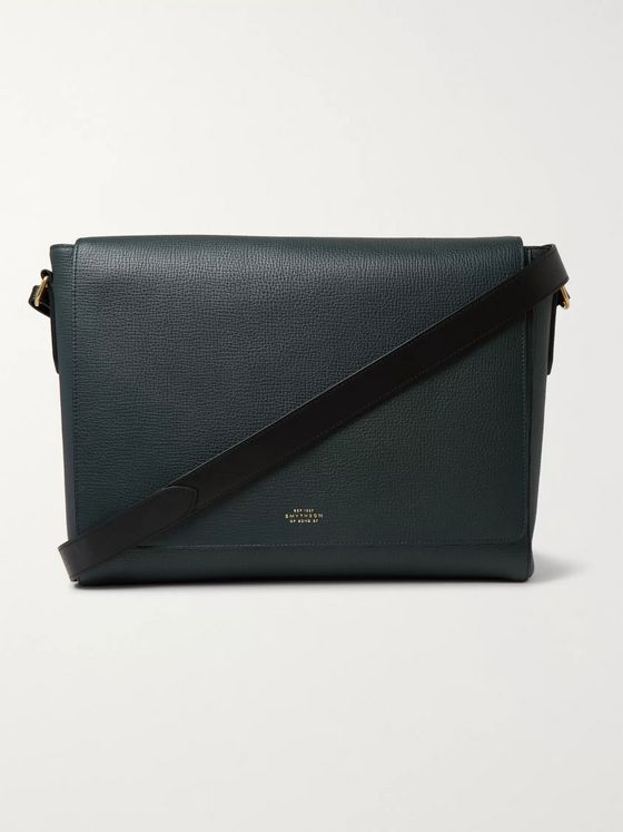 Smythson Full-Grain Leather Messenger Bag