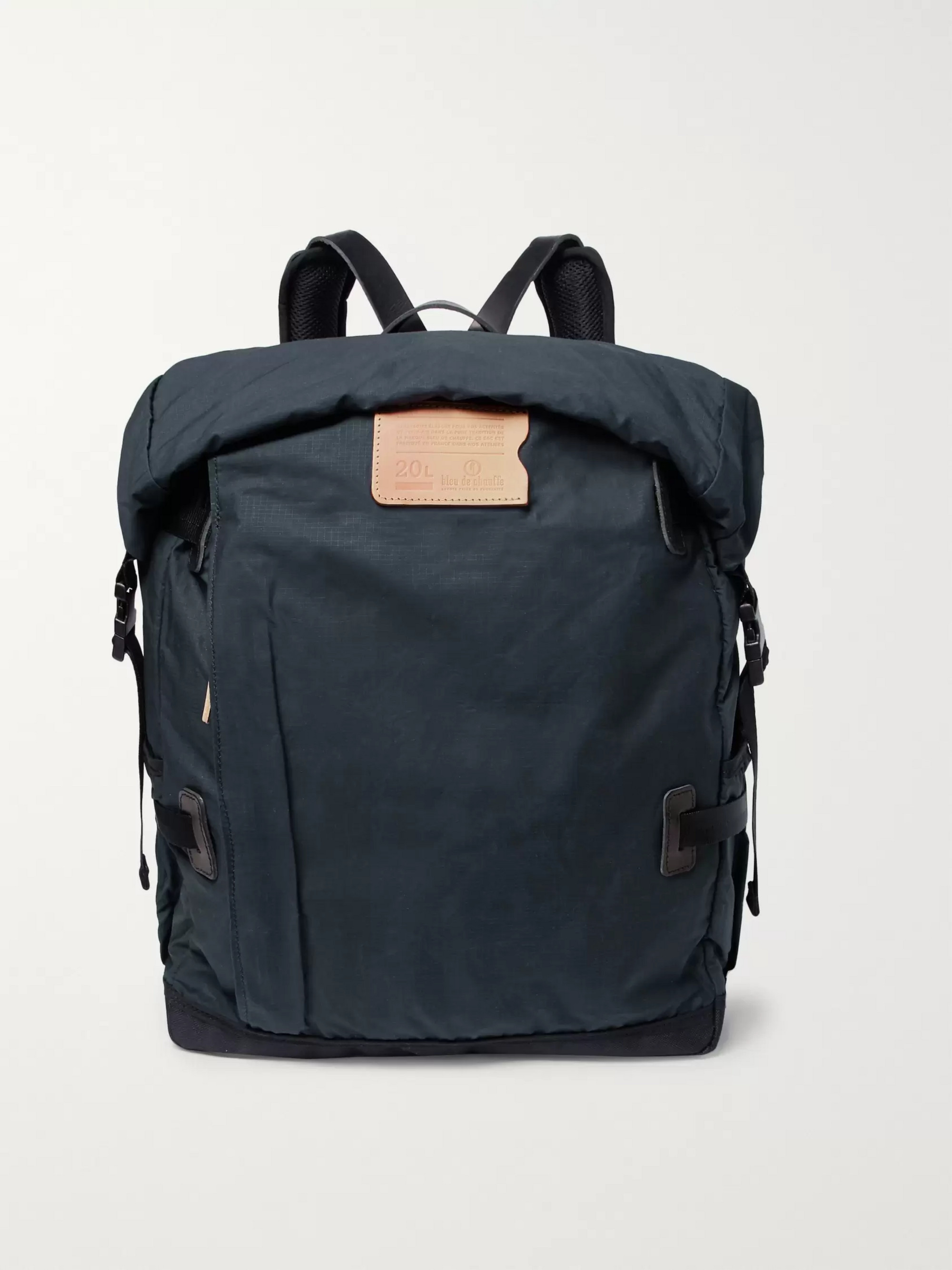 Bleu de Chauffe Basile Leather-Trimmed Waxed-Cotton Ripstop Backpack