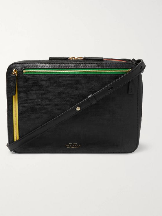 Smythson Cross-Grain Leather Messenger Bag