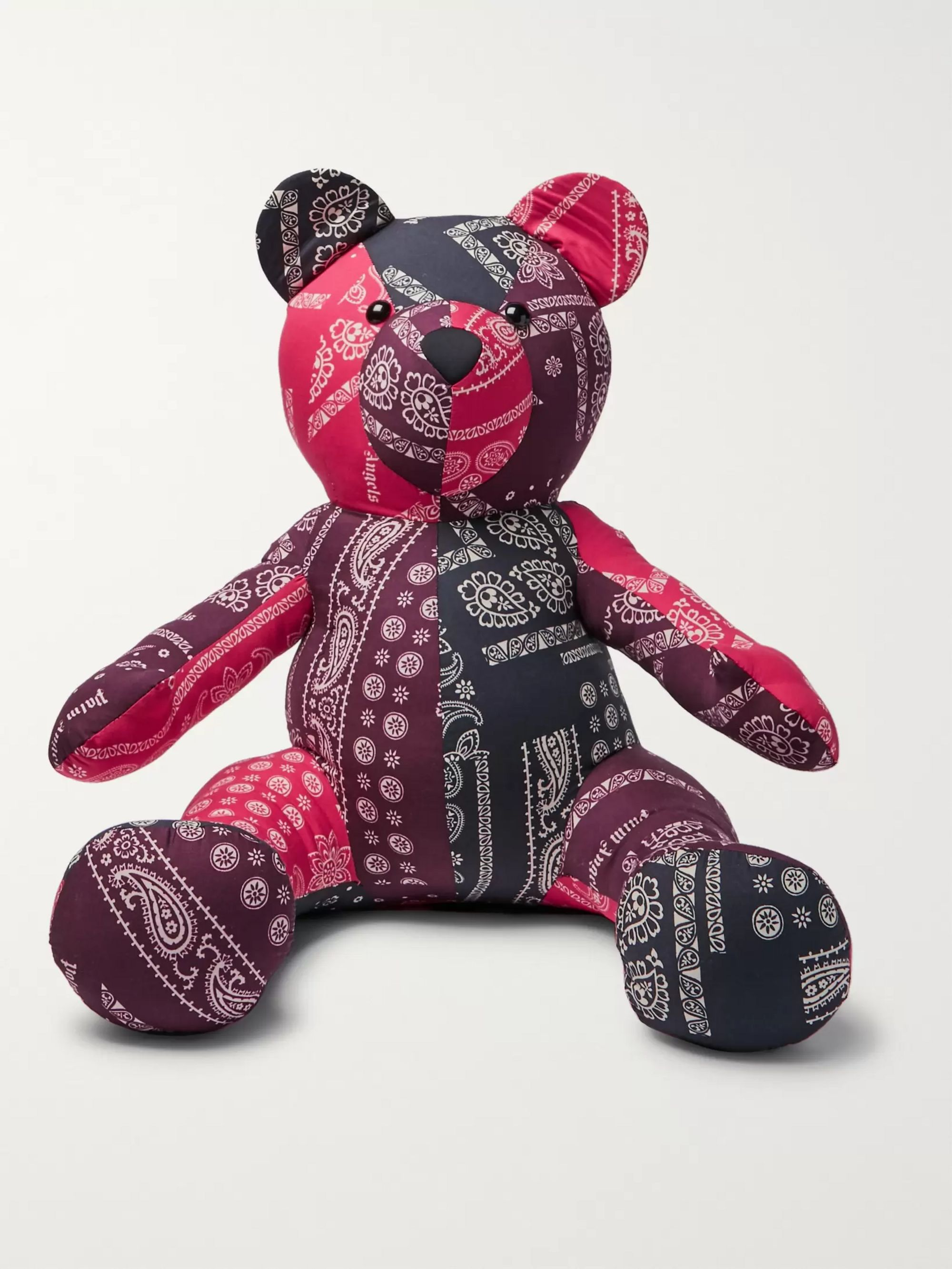 Palm Angels Bandana-Print Cotton Stuffed Bear