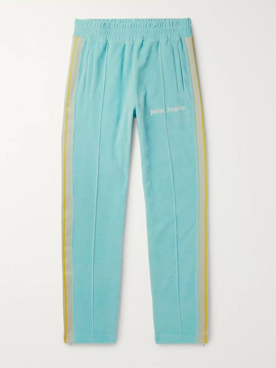 PALM ANGELS Striped Webbing-Trimmed Cotton-Blend Velvet Track Pants