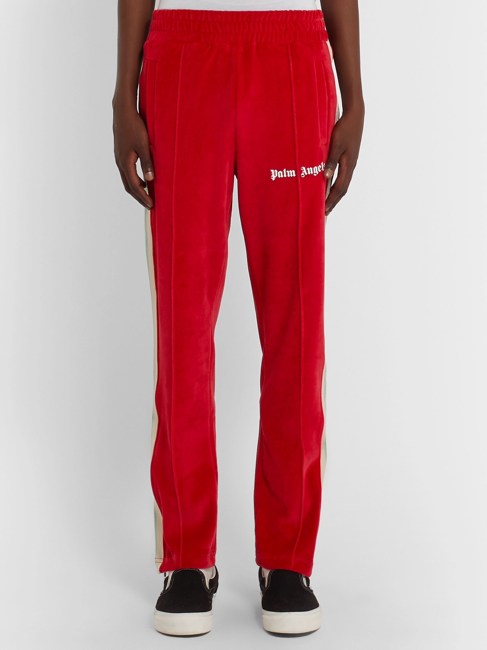 Palm Angels Slim-Fit Logo-Print Webbing-Trimmed Tech-Jersey Track Pants