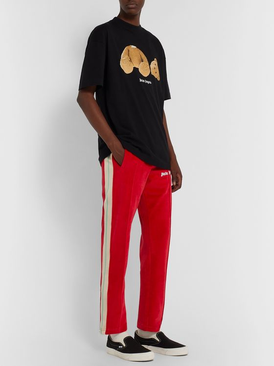 PALM ANGELS Slim-Fit Webbing-Trimmed Cotton-Blend Velvet Track Pants