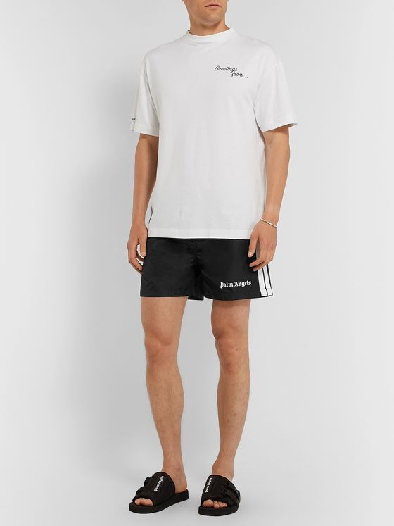 PALM ANGELS Slim-Fit Short-Length Striped Logo-Print Swim Shorts