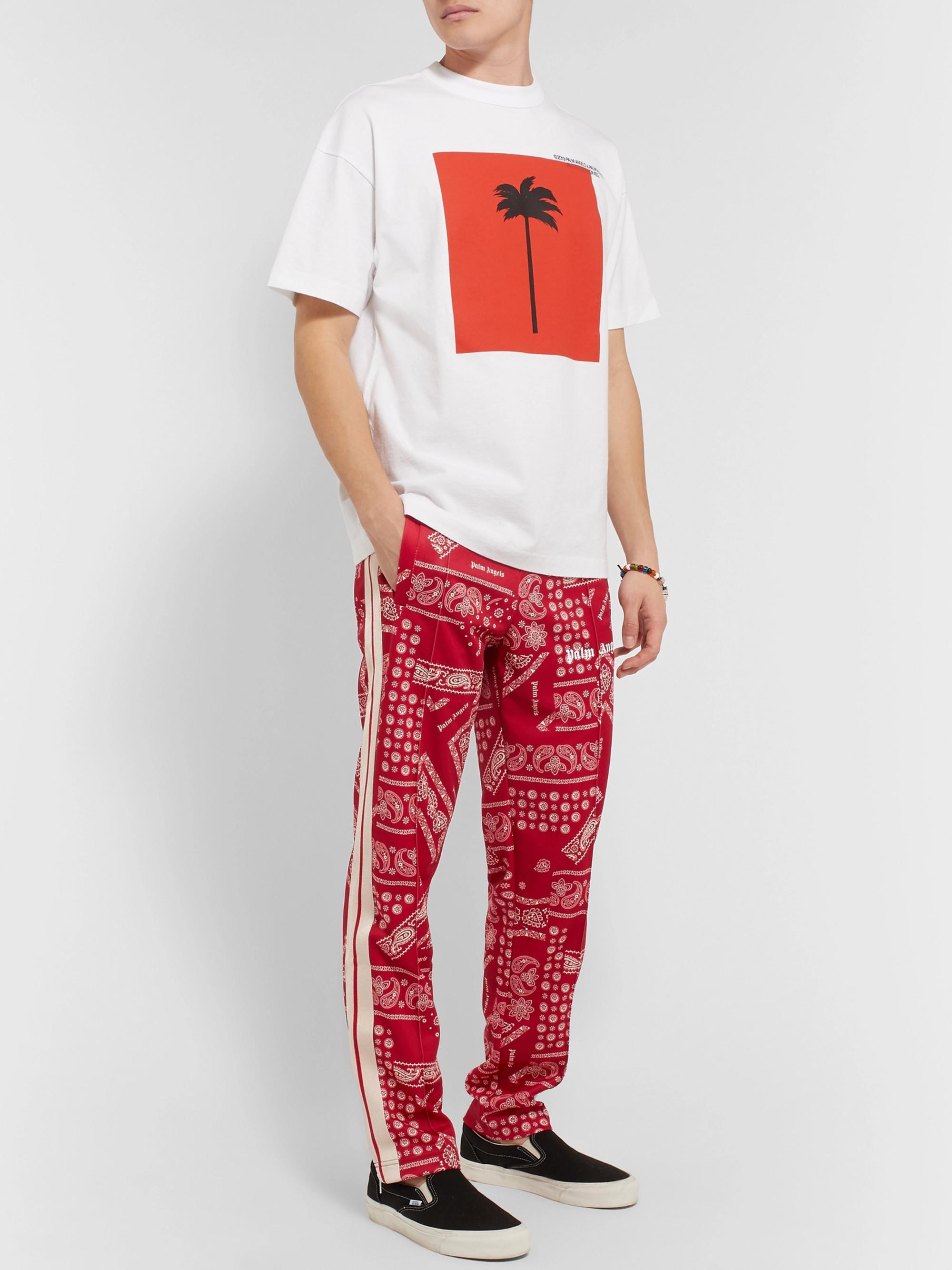 666d643c5b3e5c Palm Angels Webbing-Trimmed Printed Tech-Jersey Track Pants