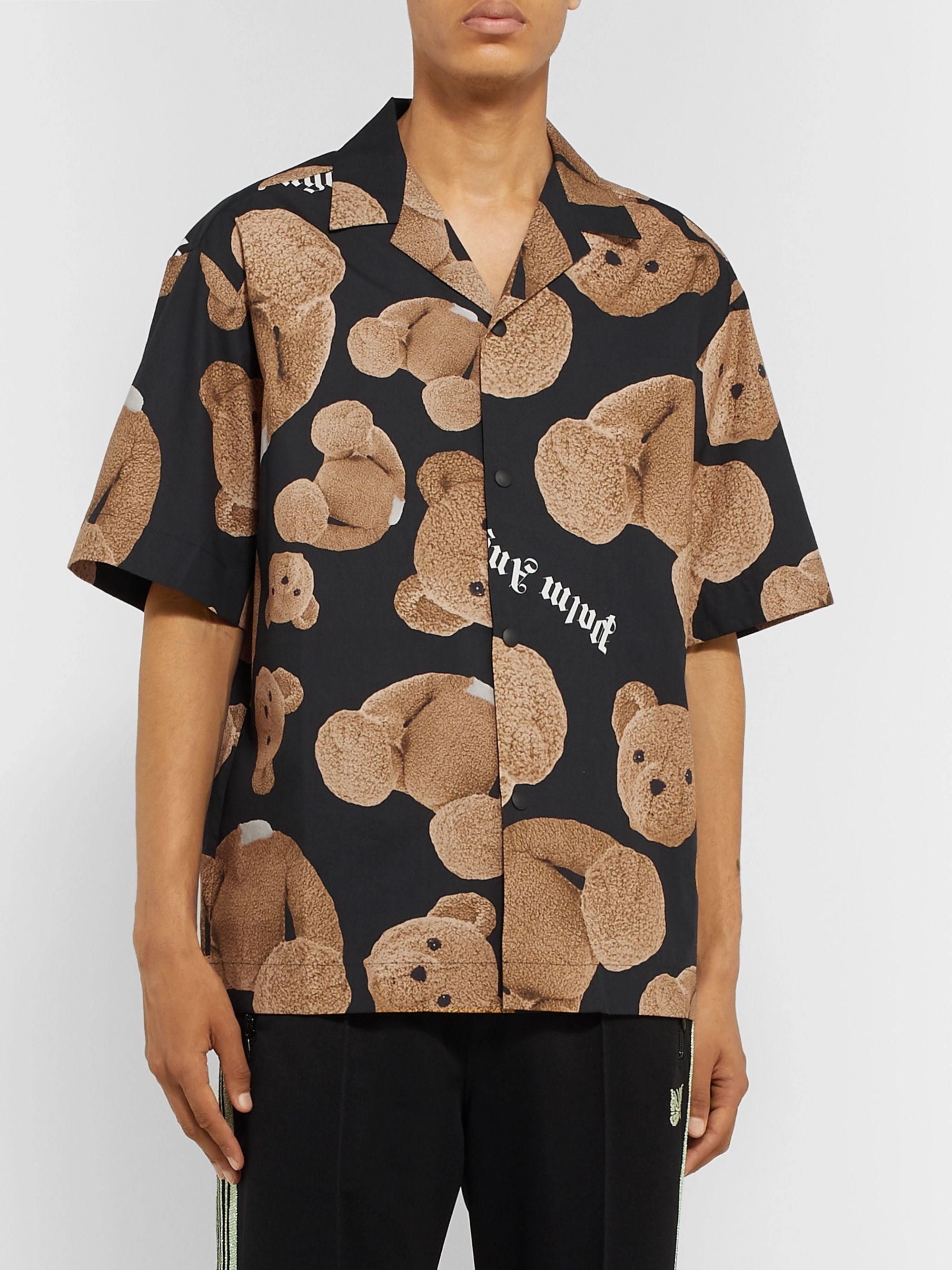 Palm Angels Camp-Collar Printed Cotton Shirt
