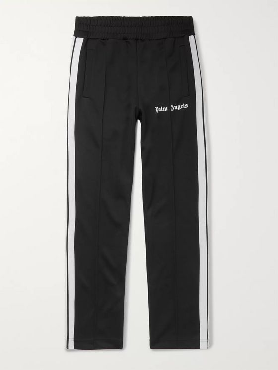 Palm Angels Slim-Fit Logo-Print Striped Tech-Jersey Track Pants
