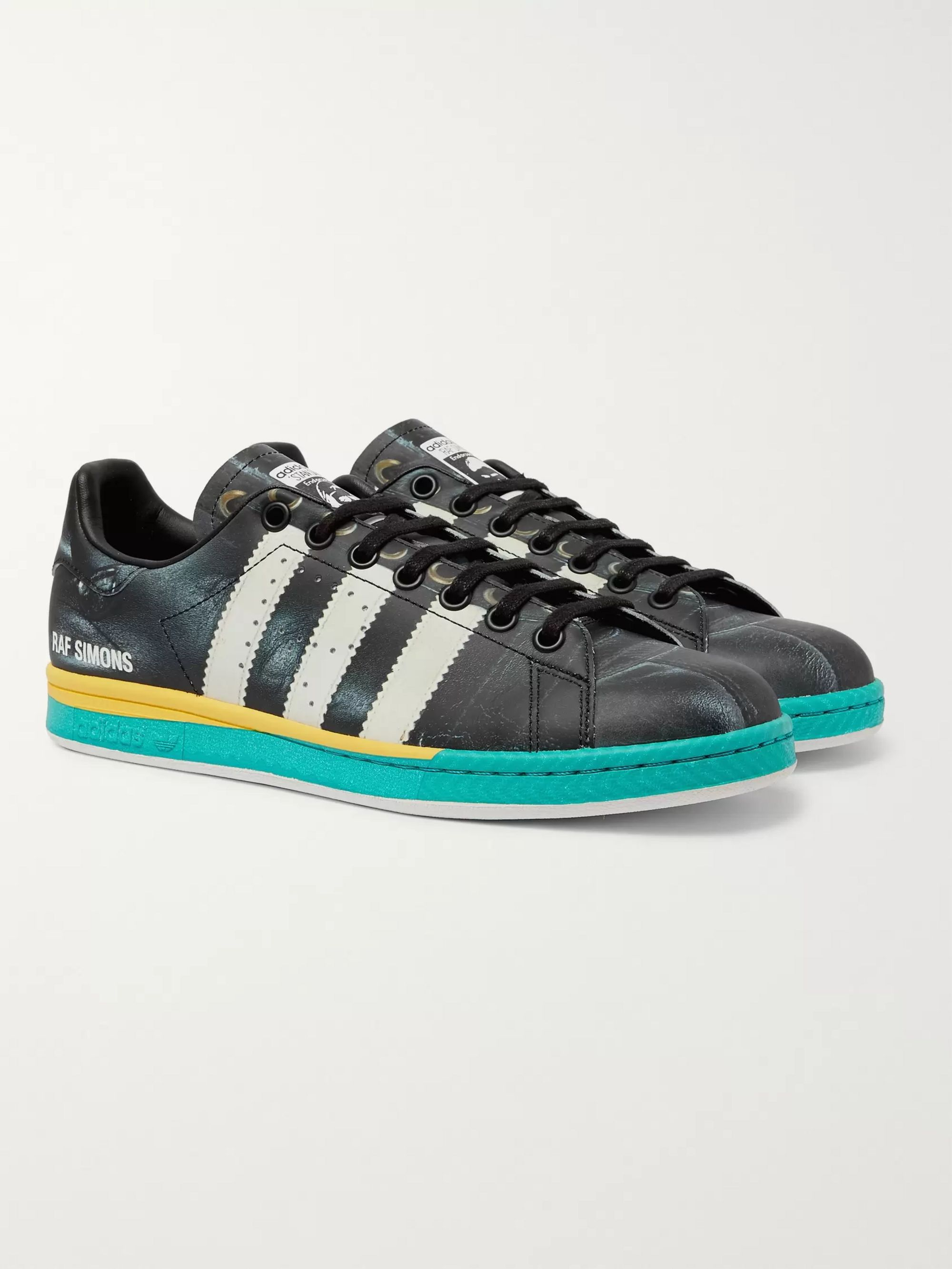Raf Simons + adidas Originals Samba Stan Smith Printed Leather Sneakers