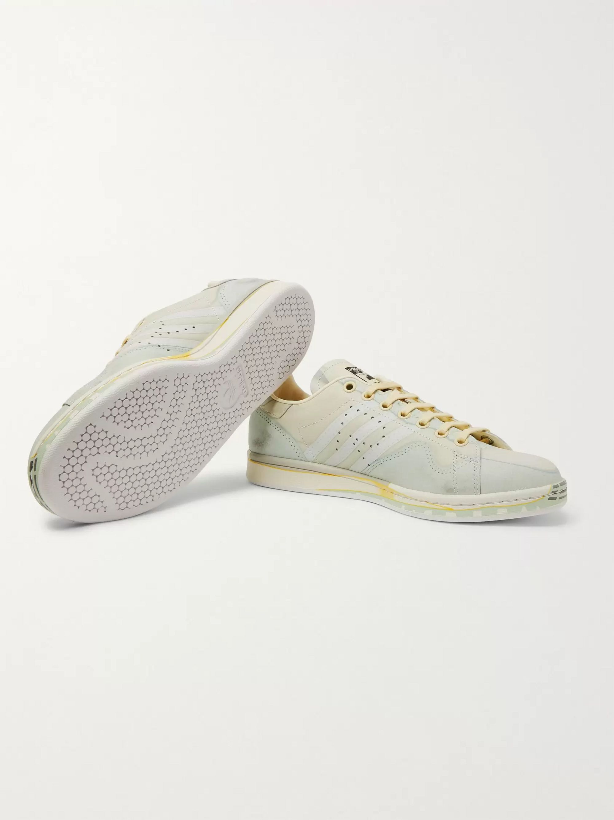 detailed look fd88c 1dadd + adidas Originals Peach Stan Smith Printed Leather Sneakers