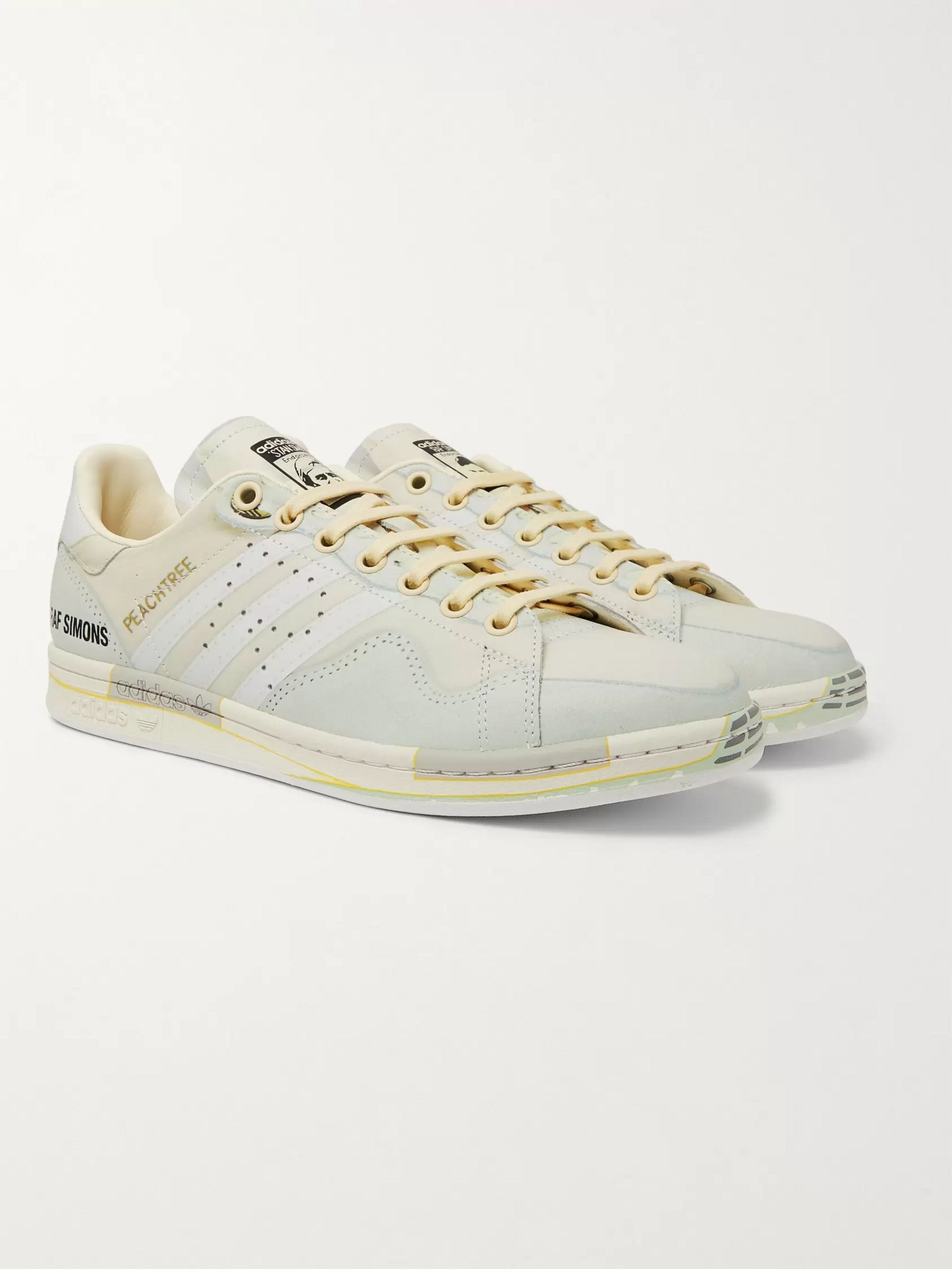 good out x price reduced differently + adidas Originals Peach Stan Smith Printed Leather Sneakers