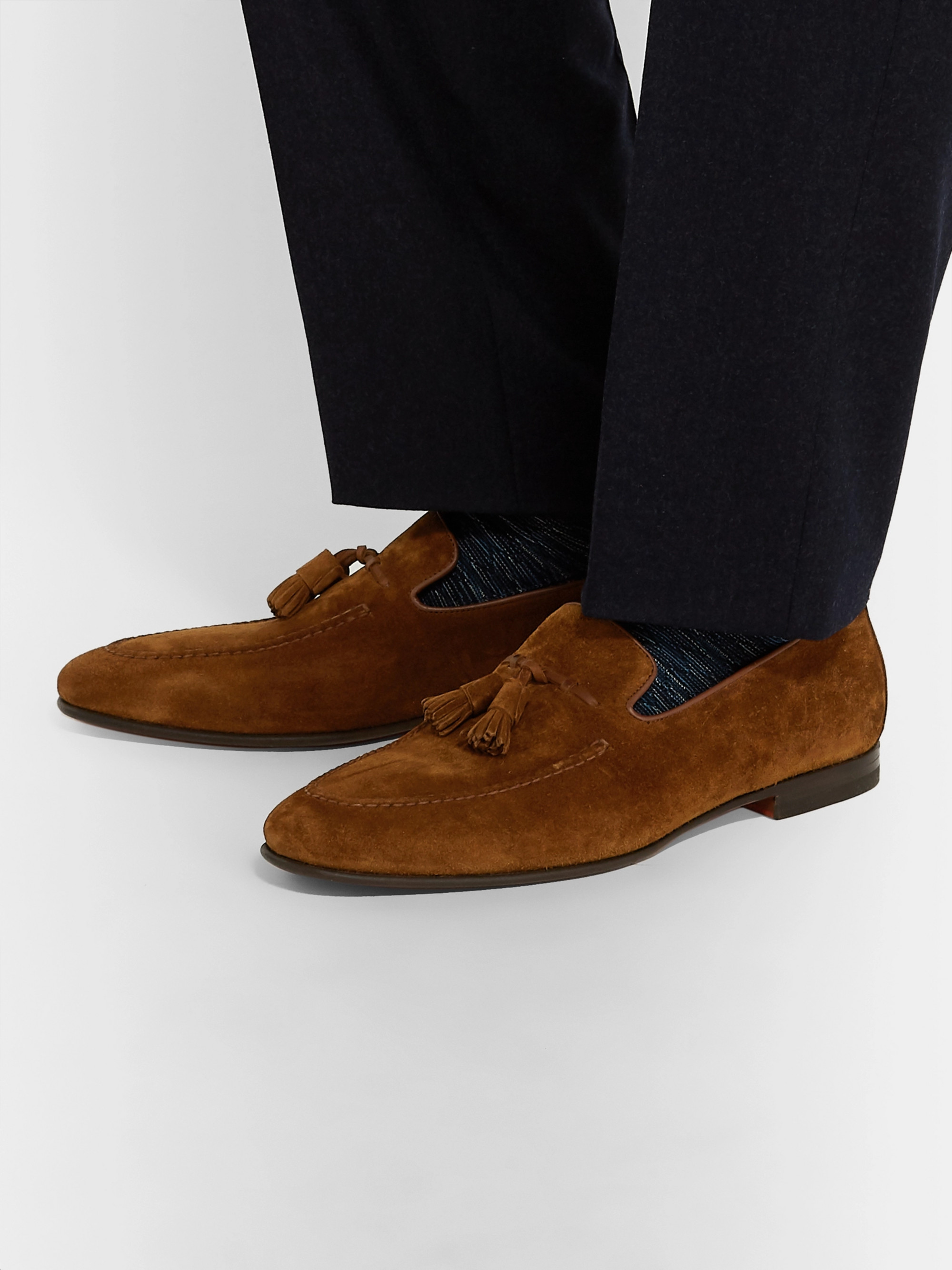Santoni Suede Tasseled Loafers